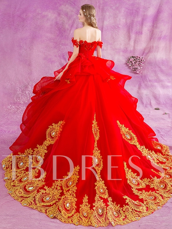 Ball Gown Appliques Beading Red Wedding Dress