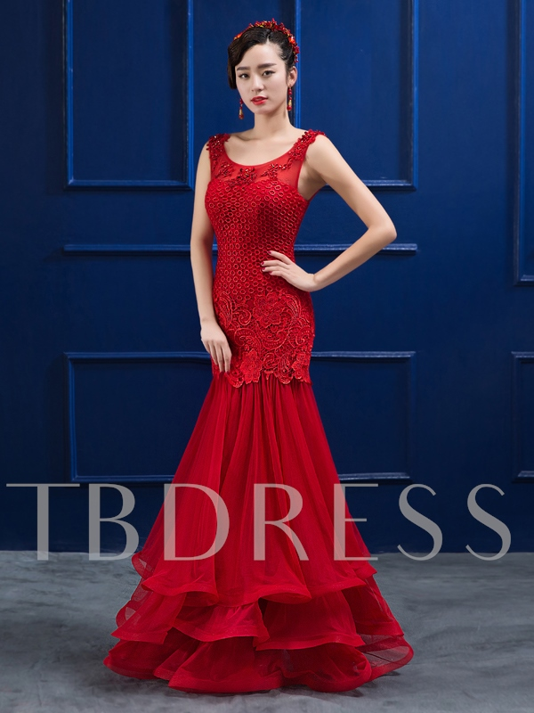 Round Neck Beaded Mermaid Appliques Floor-Length Evening Dress