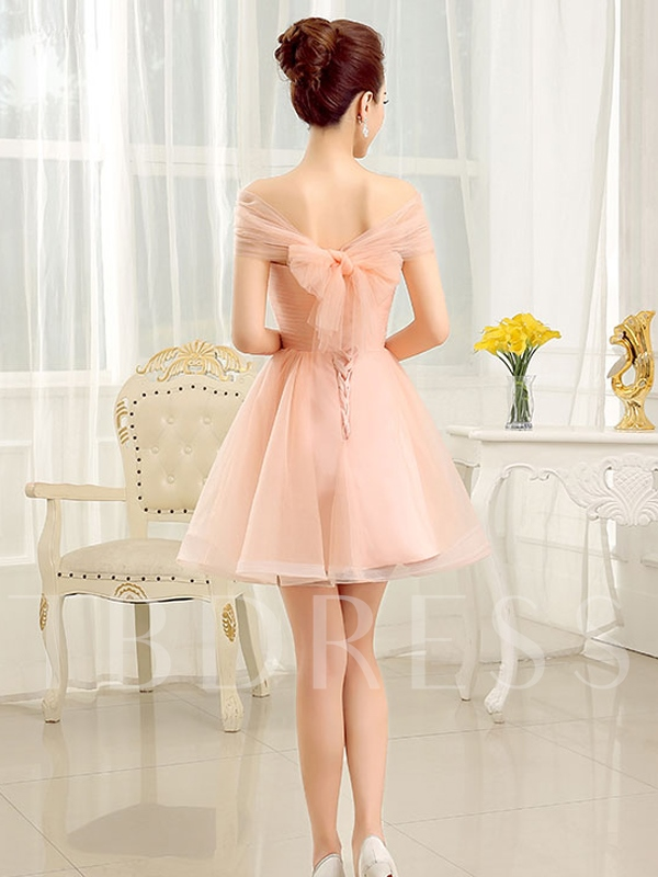 Off-the-Shoulder A-Line Ruched Bow Mini Homecoming Dress