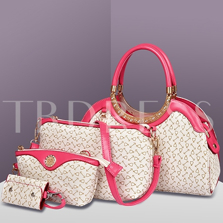 Arrow Print PU Women Tote Bag Set