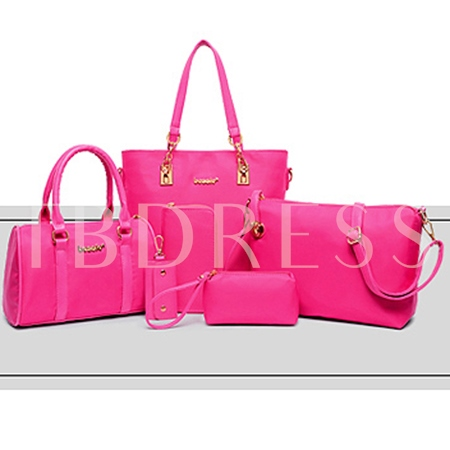 Solid Color 6 Pieces Women Tote Bag Set