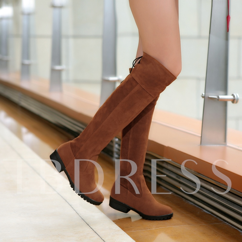 Square Heel Round Toe Womens Knee-High Boots