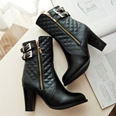 Zipper Chunky Heel Women's Ankle Boots (Plus Size Available)