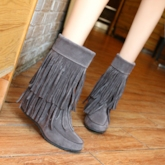 Tassels Round Toe Women's Ankle Boots (Plus Size Available)