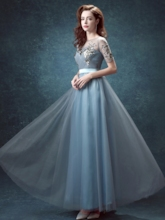 A-Line Short Sleeve Jewel Appliques Prom Dress