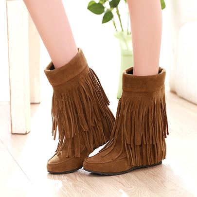tassels round toe womens ankle boots (plus size available)