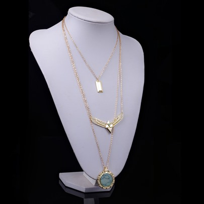 Wing Disc Pendant Multi-Layer Necklace
