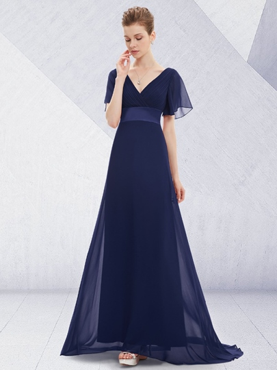 Short Sleeve A-Line V-Neck Sweep Train Evening Dress
