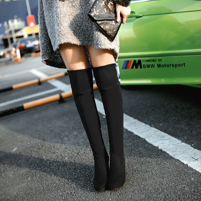 Suede Square Heel Pointed Toe Women's Knee Boots
