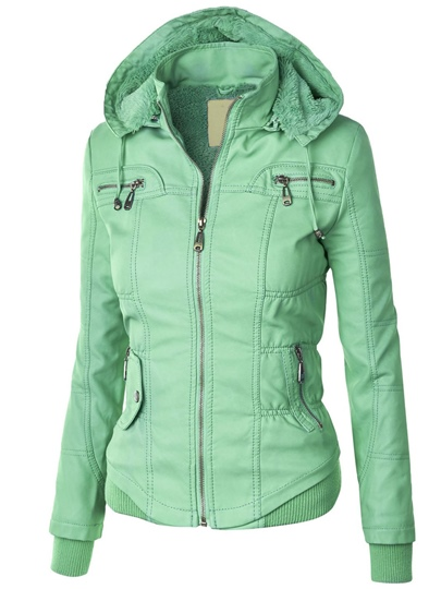 Plain Hooded Zipper Slim Hoodie Women's Jacket