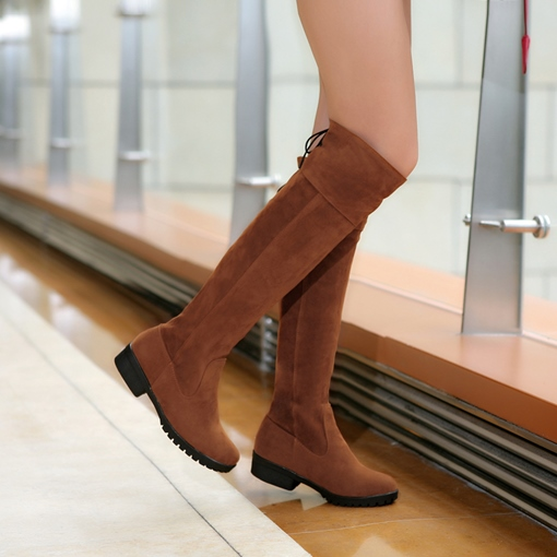 Square Heel Round Toe Women's Knee-High Boots
