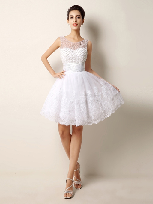 Pearls Lace Short Beach Wedding Dress
