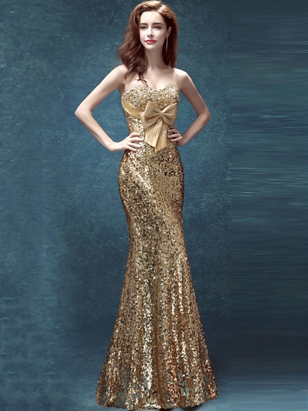 Mermaid Sweetheart Neckline Bow Sequins Floor-Length Evening Dress