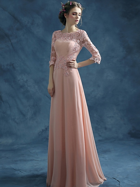Scoop Lace Beaded Floor-Length Evening Dress