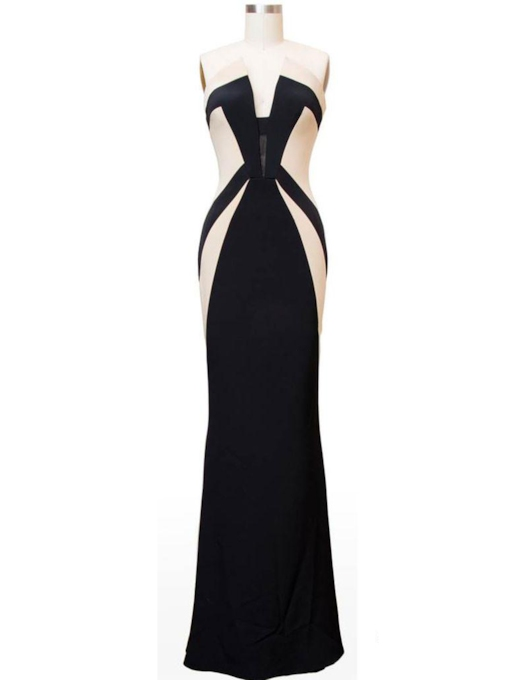 Sweetheart Column Contrast Color Floor-Length Evening Dress