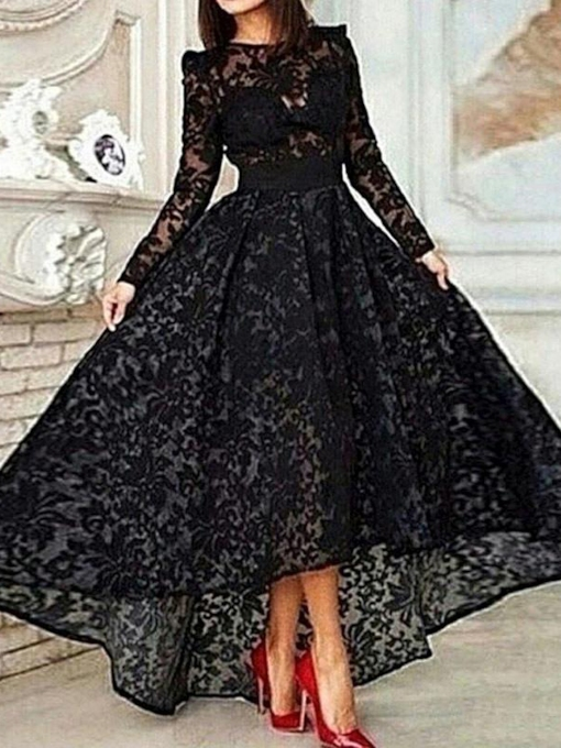 High Low Long Sleeve Lace Evening Gown