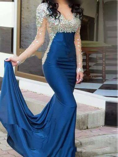 Sheer Neck Beading Mermaid Long Sleeves Evening Dress
