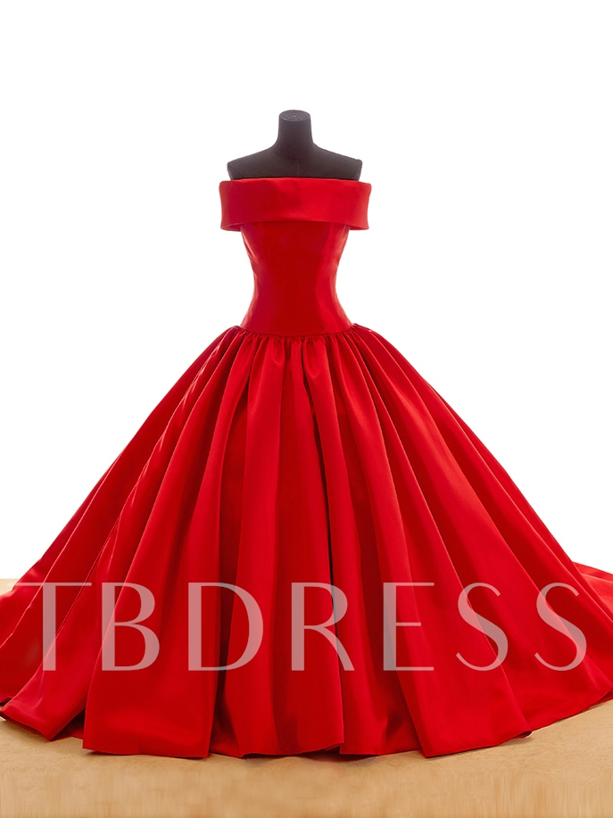 Image of Off The Shoulder Bowknot Ball Gown Red Wedding Dress