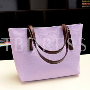 Solid Color Embossing PU Women's Tote Bag