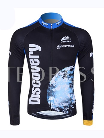 Bird View Earth Print Long Sleeve Cycling Jersey