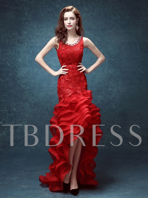 Round Neck Sheath Asymmetric Beaded Ruffles Evening Dress