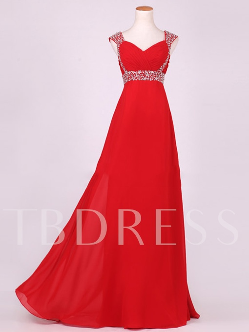 Beaded Empire Waist Pleats Floor-Length Bridesmaid Dress