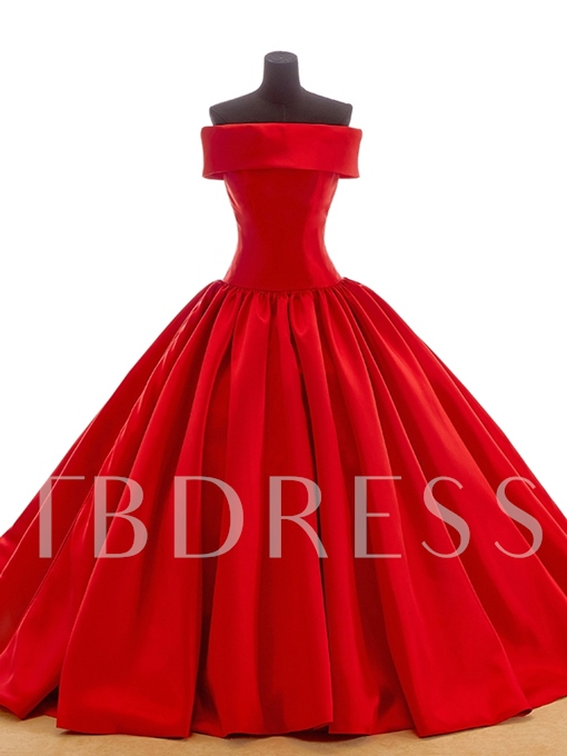 Off The Shoulder Bowknot Ball Gown Red Wedding Dress