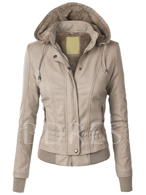 Solid Color Hooded Slim Women's Jacket