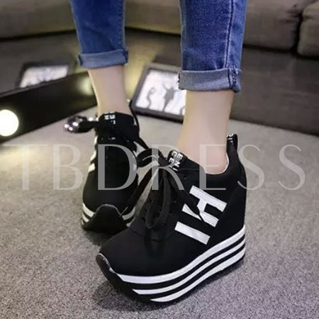 Stripes Lace-up Elevator Heel Women's Sneakers