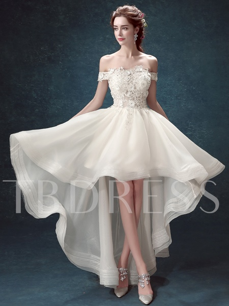 Off-The-Shoulder Flowers Lace Asymmetry Bridesmaid Dress