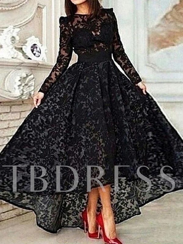 A-Line High Low Long Sleeve Lace Evening Dress