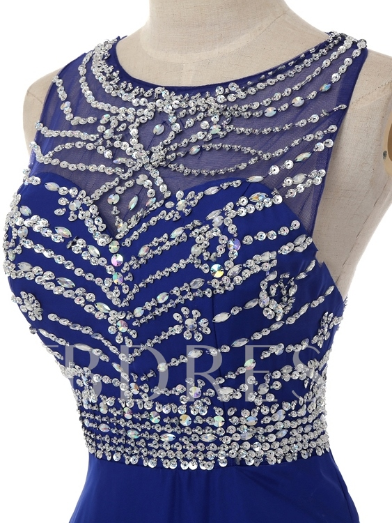 Round Neck Beaded A-Line Long Prom Dress