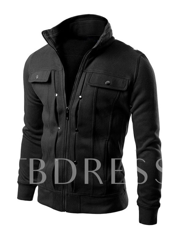 Buy Stand Collar Zipper Solid Color Buttons Slim Fit Men's Jacket, Spring,Fall,Winter, 11398756 for $25.64 in TBDress store