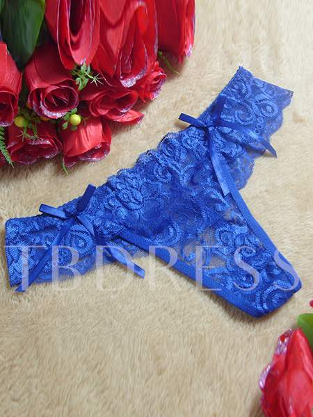 Lace Patchwork Hollow-out Bowknot Falbala Women's Panty