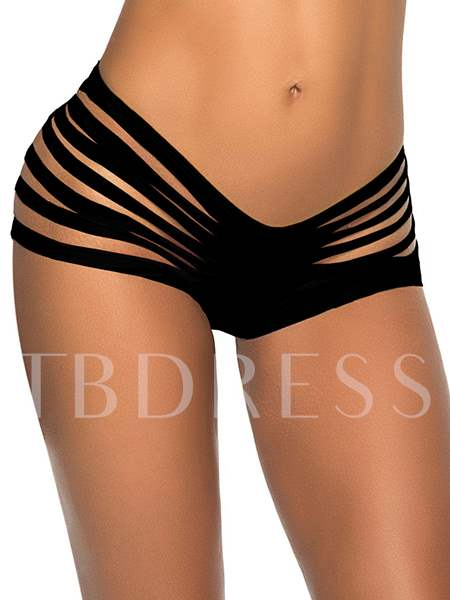 Solid Color Hollow-out Women's Panty