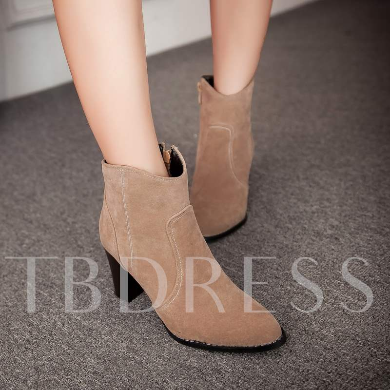 Pointed Toe Square Heel Suede Women's Ankle Boots