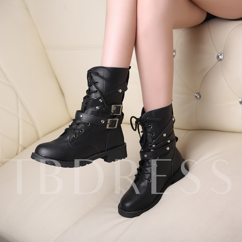 Black Lace-up Square Heel Women's Martens Boots