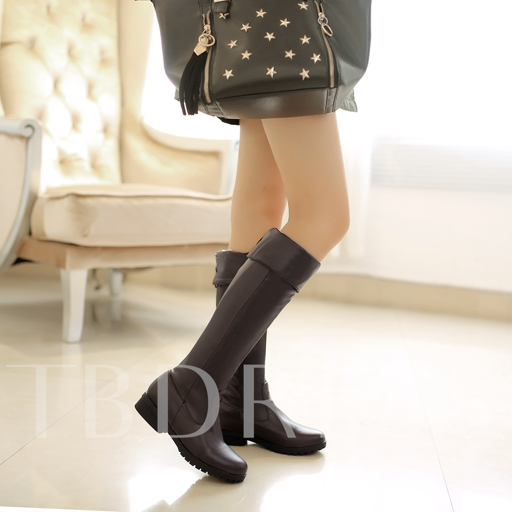 Short Loss Square Heel Women's Knee-High Boots (Plus Size Available)