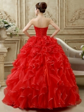 Strapless Ball Gown Ruched Pearls Floor-Length Quinceanera Dress