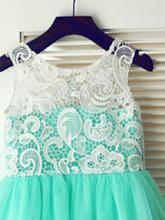 Mint Green Tulle Lace Floor-Length Long Flowers Girl Dress