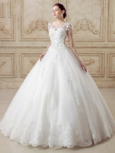 Bowknot Short Sleeves Ball Gown Wedding Dress with Train