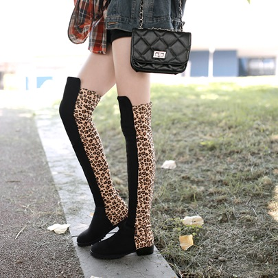Leopard Patchwork Round Toe Women's Knee High Boots (Plus Size Available)
