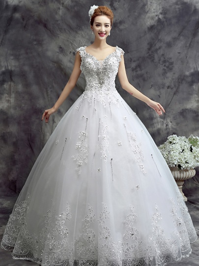 Sheer Back Ball Gown Rhinestone Beading Lace Wedding Dress