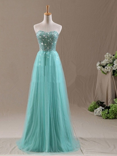 Strapless Sweetheart Beaded Tulle Long Bridesmaid Dress