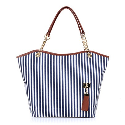 Fashion Stripe Canvas Women Tote Bag