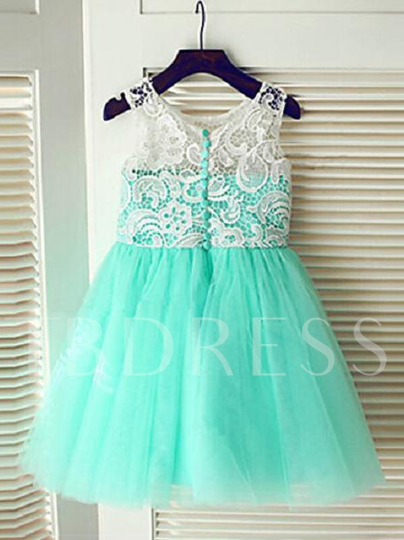 Image of Mint Green Tulle Lace Floor-Length Long Flowers Girl Dress