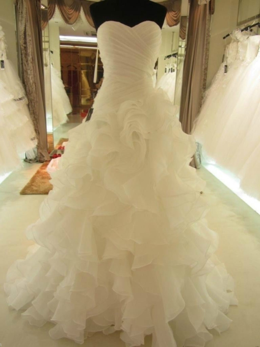 Sweetheart Organza Cascading Ruffles Wedding Dress