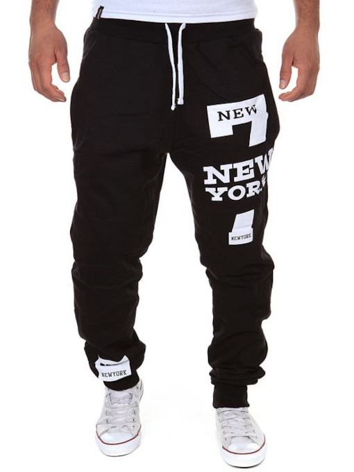 Lace-up Letter Printed Loose Men's Leisure Pants