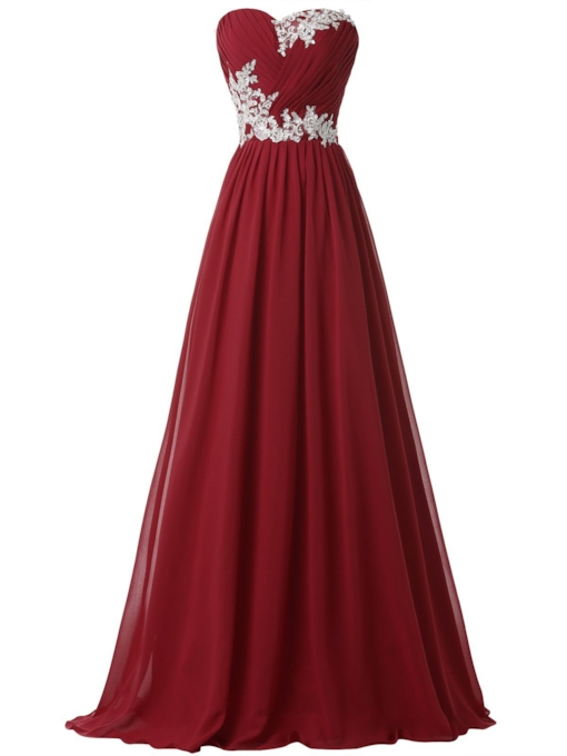 Sweetheart A-Line Appliques Pleats Prom Dress