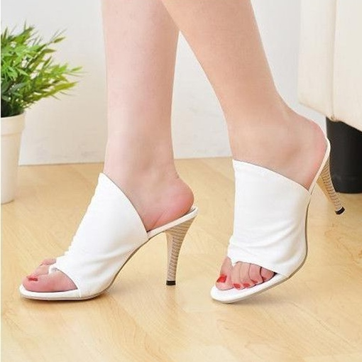 Stiletto Heel Slip-On Plain Appliques Thong Women's Sandals